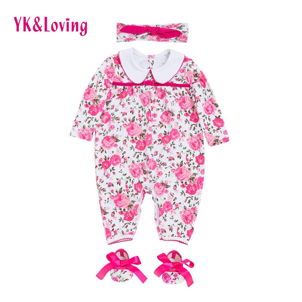 2018 Flower Newborn Rompers Baby Girls Clothes Pink Long Sleeve Cotton Body Overalls Autumn/winter Girl Infant Jumpsuit Clothing newborn baby girls rompers 100% cotton long sleeve angel wings leisure body suit clothing toddler jumpsuit infant boys clothes