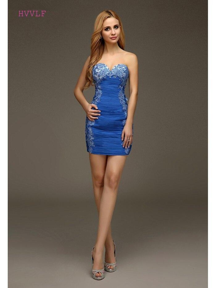 Royal Blue 2019 Cocktail Dresses Sheath Sweetheart Short Mini Chiffon Lace Beaded Backles Elegant Party Homecoming Dresses