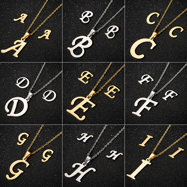 Jisensp Stainless Steel 26 Letters Initial Necklace for Women Alphabet Necklaces Pendants Kolye Collier Friends Family Necklace