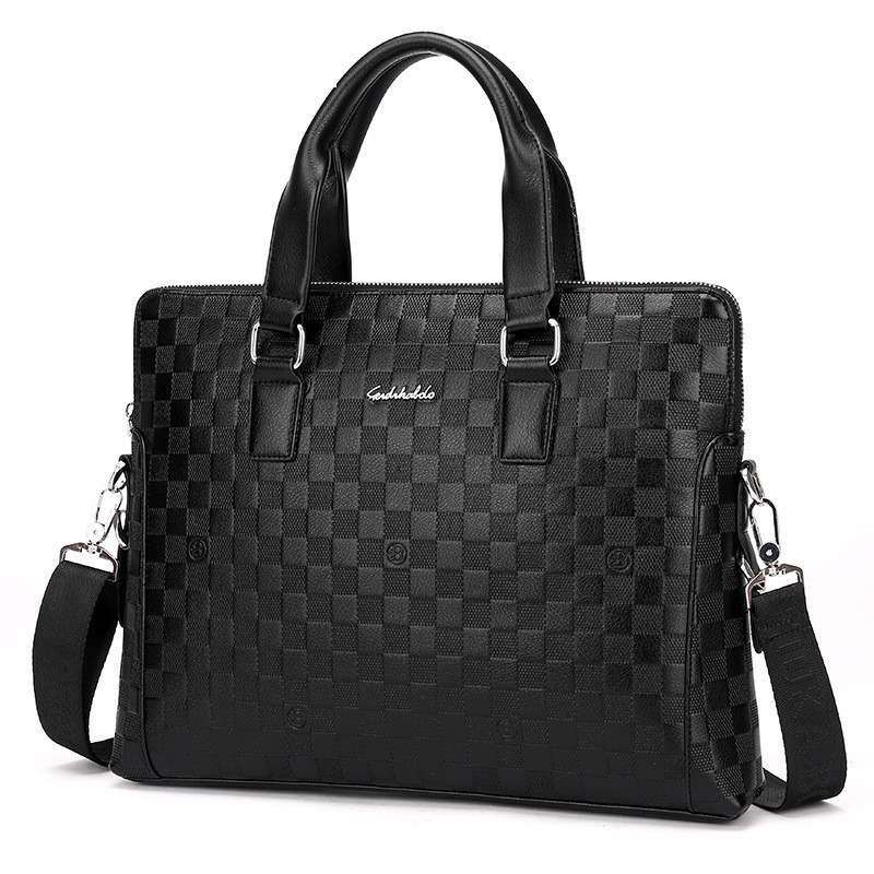New Embossed Male Handbag Business Document Computer Bag Two Single Shoulder Skew Spanning Bags