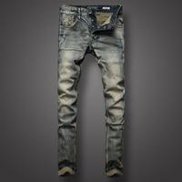 High Quality Fashion Men Jeans Italian Style Retro Design Stripe Jeans Mens Pants Buttons Slim Fit