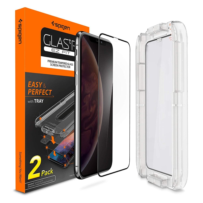 100% original spigen glass. tr magro ez caber cobertura completa protetor de tela de vidro temperado para iphone xs max/xs/xr/x