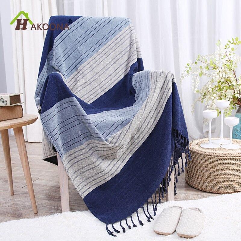 HAKOONA pays américain bleu dégradé rayures Chenile fil gland couvertures épais canapé courtepointes serviettes
