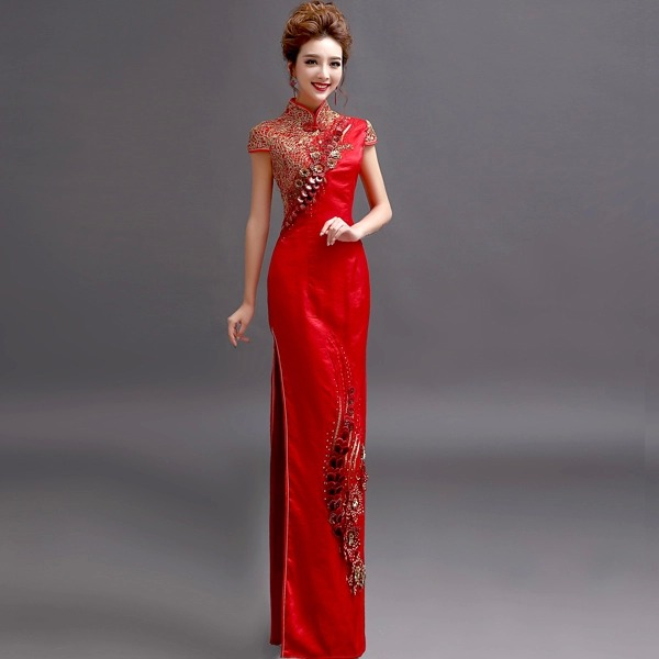 High slit brocade Gold Silk Embroidery chinese oriental dresses ...