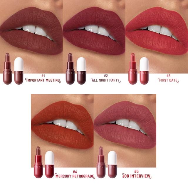 FOCALLURE Mini matte lipstick waterproof red brown velvet long lasting lipstick waterproof set women lips maquiagem 1