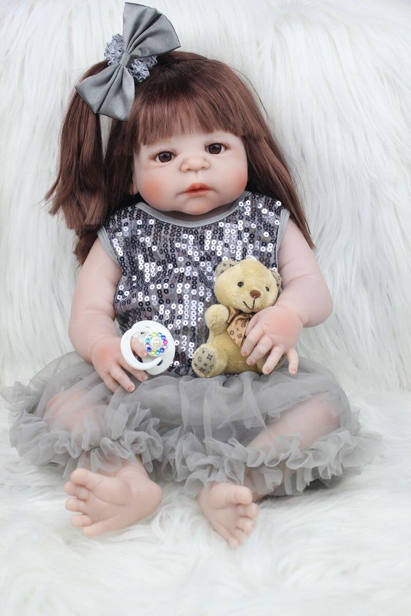 55 см всего тела силикона Reborn девушка кукла игрушки как настоящие 22 дюймов новорожденных принцессы для малышей куклы купаться игрушка Рожде...