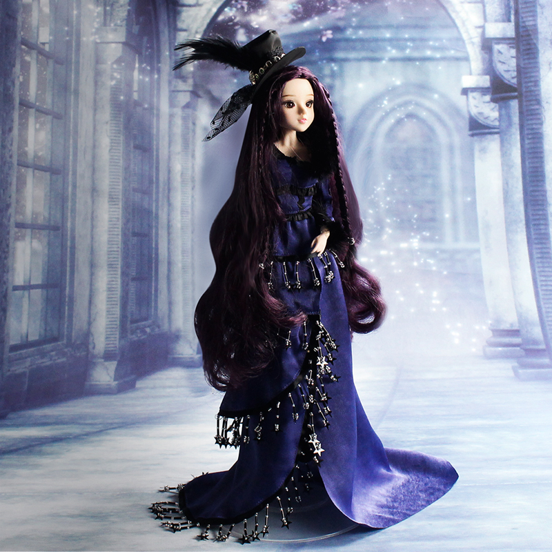 1 6 BJD Doll MMGirl Scorpio 14 Joint Body with Deep Purple Outfit H eadwear and