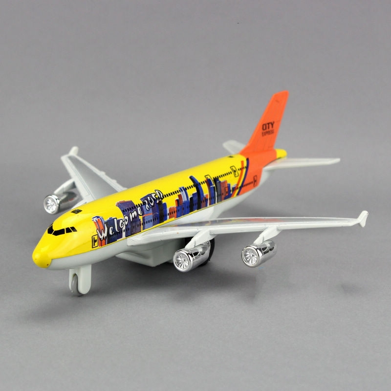 Kid Plastic Plane Toy Kid Diecast Pull back Airbus A380 Boeing 777 toy gift OP