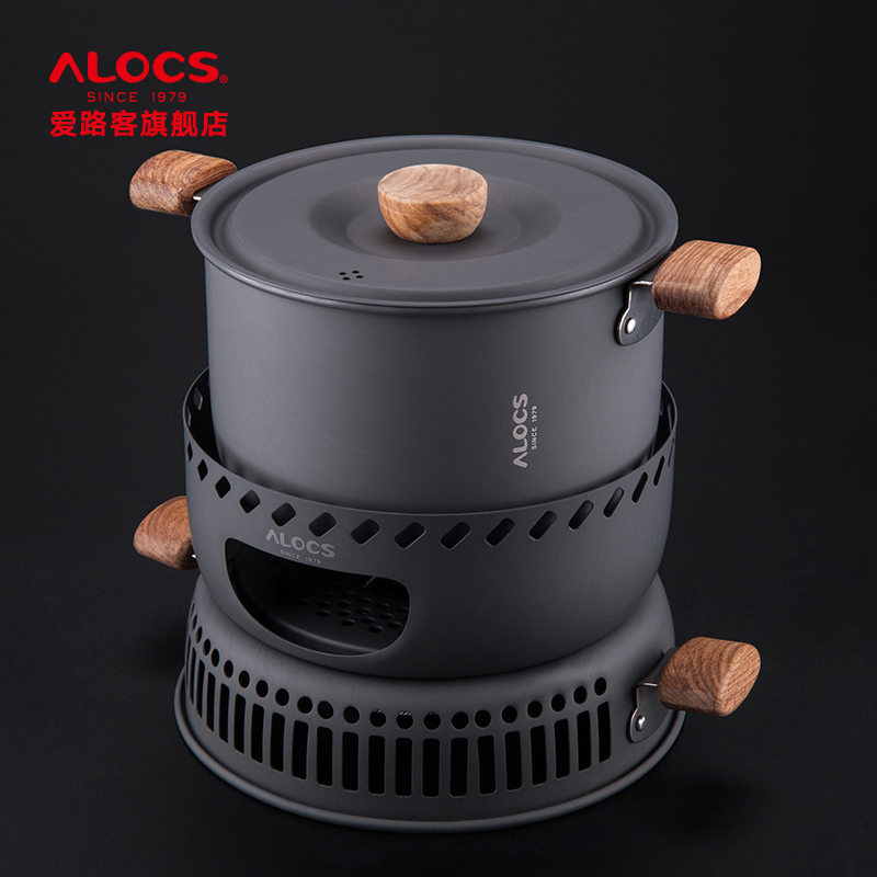 Alocs shabu shabu outdoor cooker suit portable wind picnic supplies outdoor camping pot pot чайник походный alocs love road off cw k04 alocs cw k04 pro