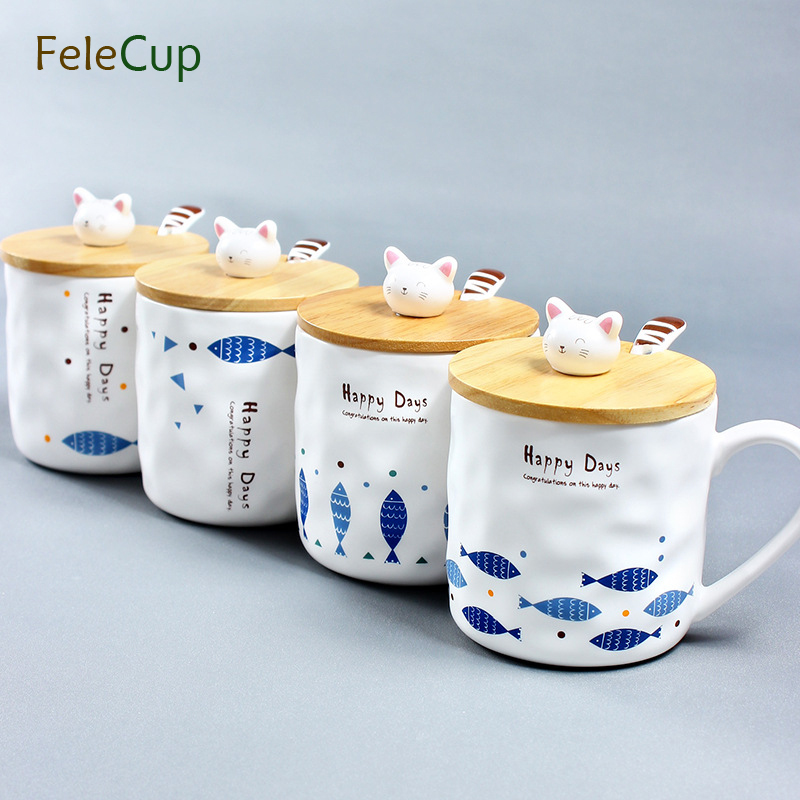 FeleCup Coffee Mug with Lid Spoon Mug Tumbler Porcelain Travel Mugs and Cups with Handgrip Milk Tea Drinkware Novelty Cat Gifts