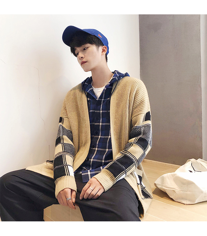 Korean Oversized Sweater Cardigan Men Plaid (9)