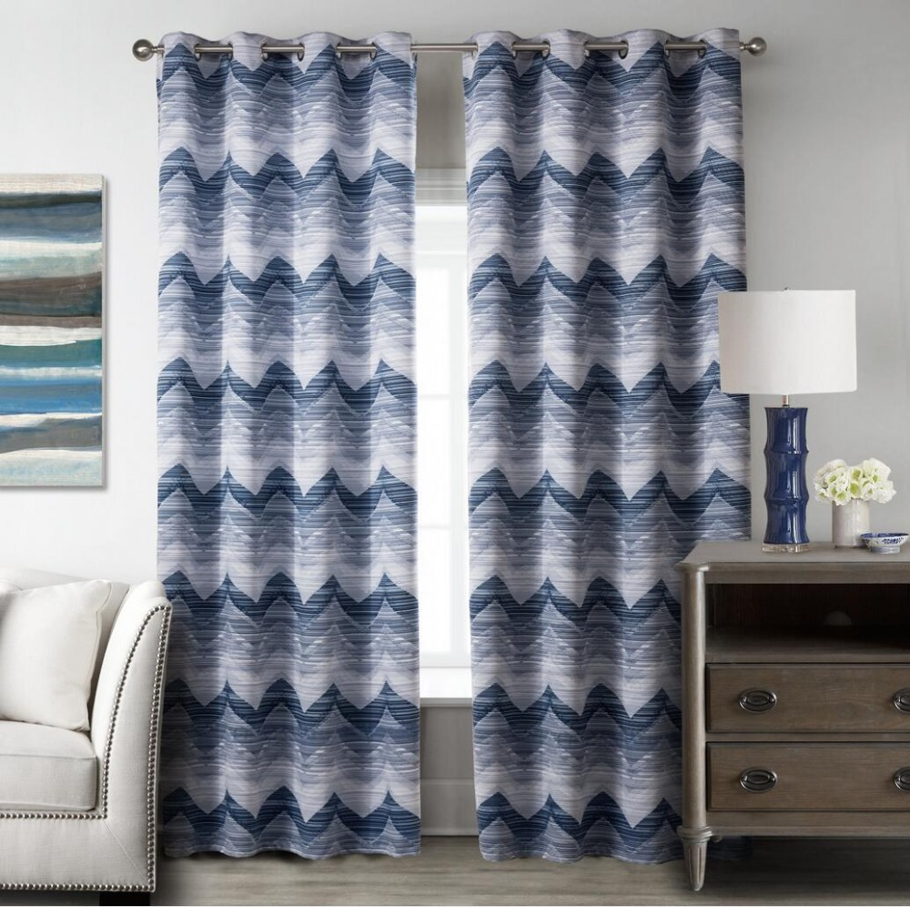 Printed curtains living room - 1 Piece Wave Printed Blackout Curtain For Living Room Window Curtain For Bedroom Drape Kitchen Curtains With Eyelets In Curtains From Home Garden On