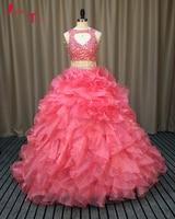Jark Tozr Custom Made Vestidos De 15 Parlak Kristal İki Adet Prenses Balo Quinceanera Modelleri 2017 Vestido De Debutante