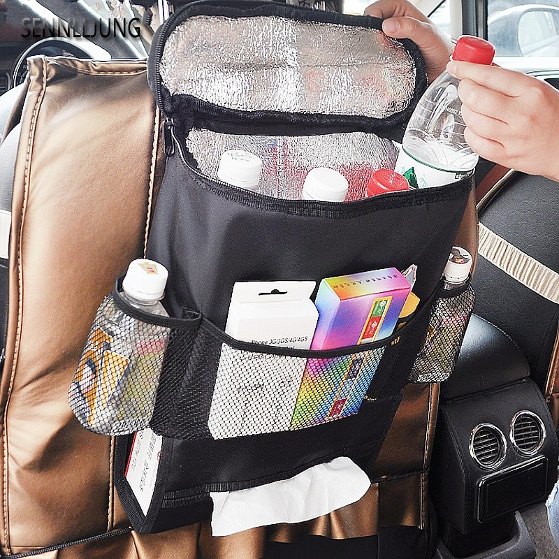 Upscale Black Auto Food Beverage Storage Organizer Bag Nsulated Container Basket Picnic Lunch Dinner Bag Ice Pack Cooler Item