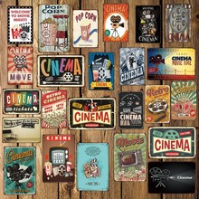 [Mike86] filme de cinema pipoca metal sinal placa parede cartaz casa retro ferro pintura arte decoração do presente natal arte FG-514
