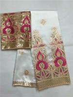 Белый и золотой 5 ярдов Африки Джордж ткань оболочки + 2 ярдов французский чистая тюль кружева комплекты высокого качества для изготовления
