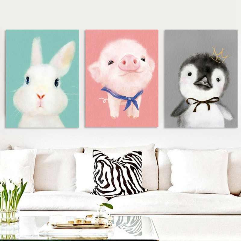 5d Pintura Diamante Diy Estilo Nórdico Decoração do Quarto Crianças Alpaca Coelho Porco Dos Desenhos Animados Praça Cheia de Diamante Bordado Ponto Cruz