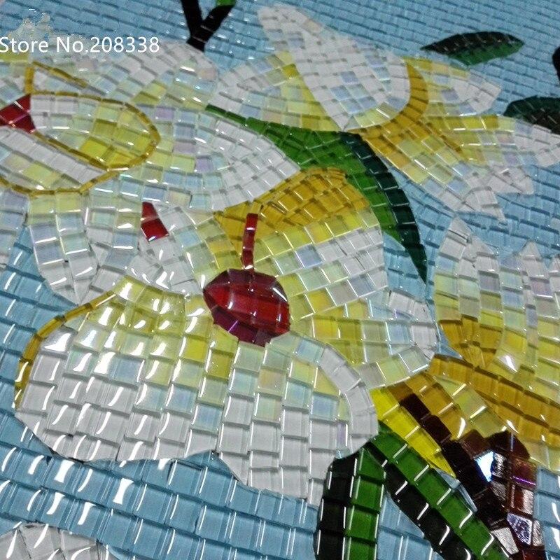 Топ модная Акция Бесплатная доставка планшет Сельский цветочный дизайн Ручная работа стеклянная мозаичная плитка художественная настенная наклейка, Декор - 4