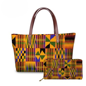 NOISYDESIGNS 2pcs/set Women Handbags&Wallet Ladies African Traditional Printing Top-Handle Bags for Females Shoulder Tote Bag