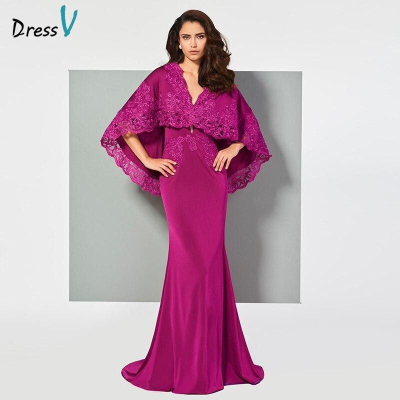 Dressv Evening Dress V Neck Mermaid Elegant Appliques Zipper-up Floor-length Wedding Party Formal Dress Evening Dresses