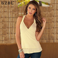 2016 Summer Women Ladies Deep V Neck Sexy Blouse Sleeveless Backless Casual Party Clubwear Vest Tank Tops Shirt Blusas CL2747