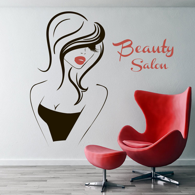 Wall Decal Beauty Salon Vinyl Decal Interior Decor Sticker Hairdresser Hairstyle Hair Barbers Hairdo Girl Face Eyes Lips MF40 in Wall Stickers from Home Garden