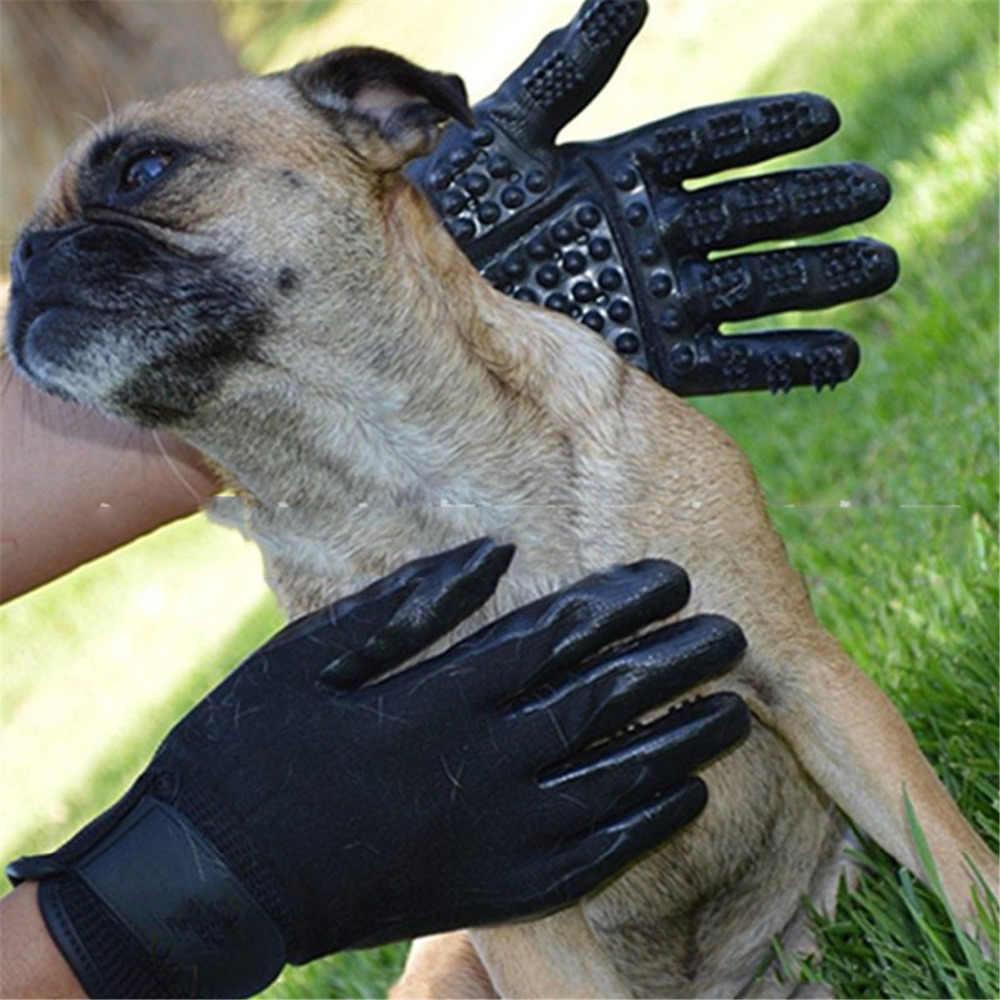 Перчатки для ухода за домашними животными, щетка для чистки собак, кошек, расческа, массажные с резиновым покрытием, усиленные, пять пальцев, для чистки животных, собак, перчатки для ванны