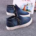 Denim Breathable High Top Canvas Shoes For Woman 2017 Spring New Female Casual Shoes Side Zip Flat Student Shoes