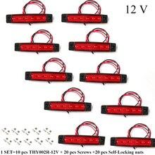 10 sztuk AOHEWEI 12 V LED czerwony tylny side marker kontrolka światła pozycyjnego z reflektorem dla przyczepy ciężarówki RV przyczepy kempingowej