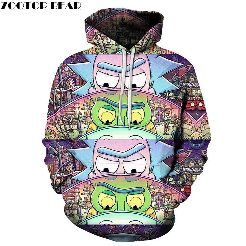 Funny Hoodies Men Women Sweatshirts 3D Hoodie Rick and Morty Pullover Streetwear Hoody Anime Tracksuits Drop Ship ZOOTOP BEAR hoodie