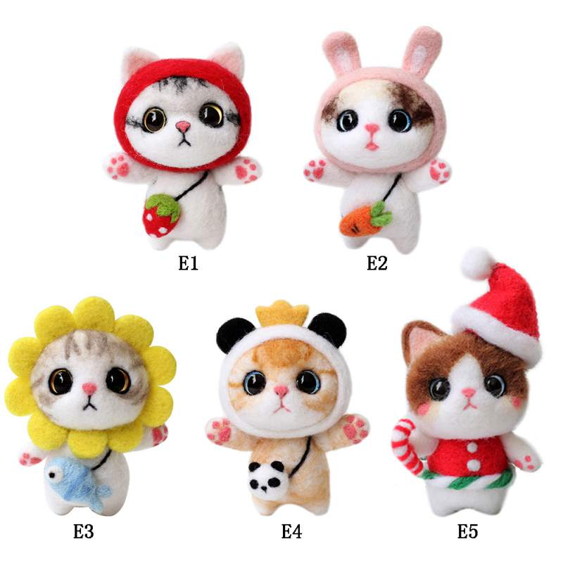 Cat Doll With Strawberry Panda Wool Felt Craft DIY Non Finished Poked Set Handcraft Kit For Needle Material Bag Pack