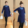 Pregnant Women Fake Two Pieces Tops Maternity Denim Patchwork Blouse Shirts Autumn Spring Long Sleeve Dress Pregnancy Clothes