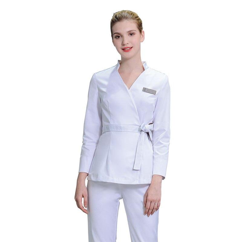 2018 Korean Style Spa Clothing Health Club White Blouse