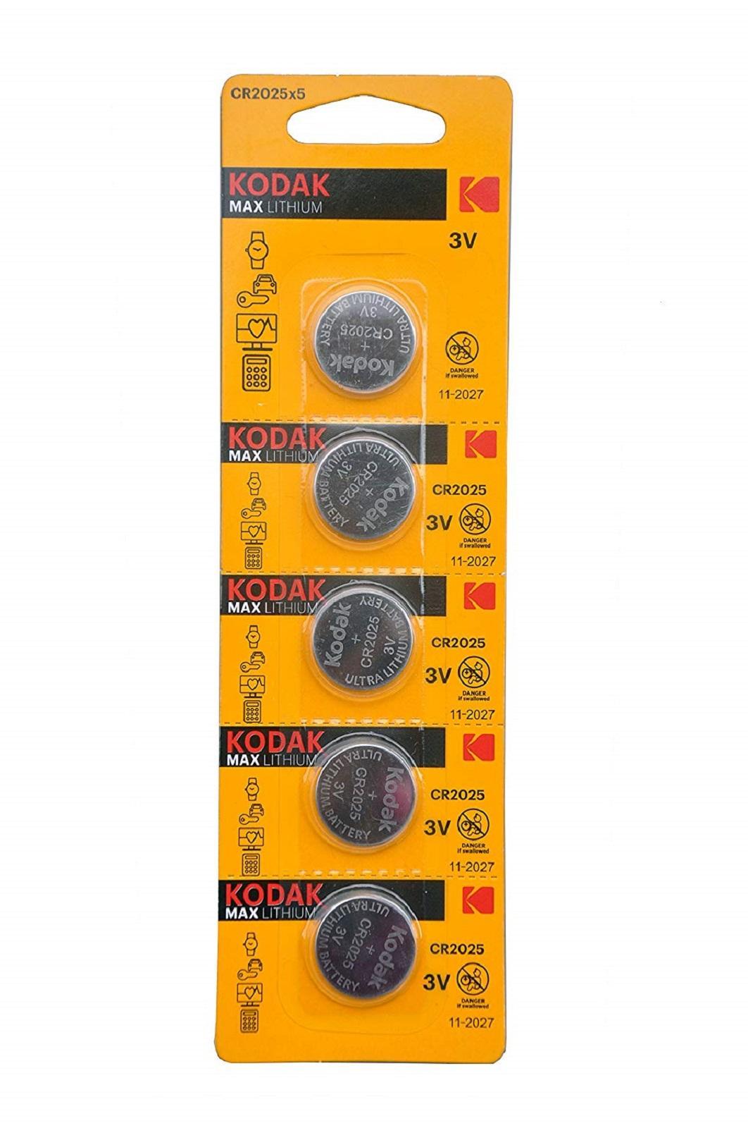 Pilas De Boton Kodak Bateria Original Litio CR2025 3V En Blister 5X Unidades