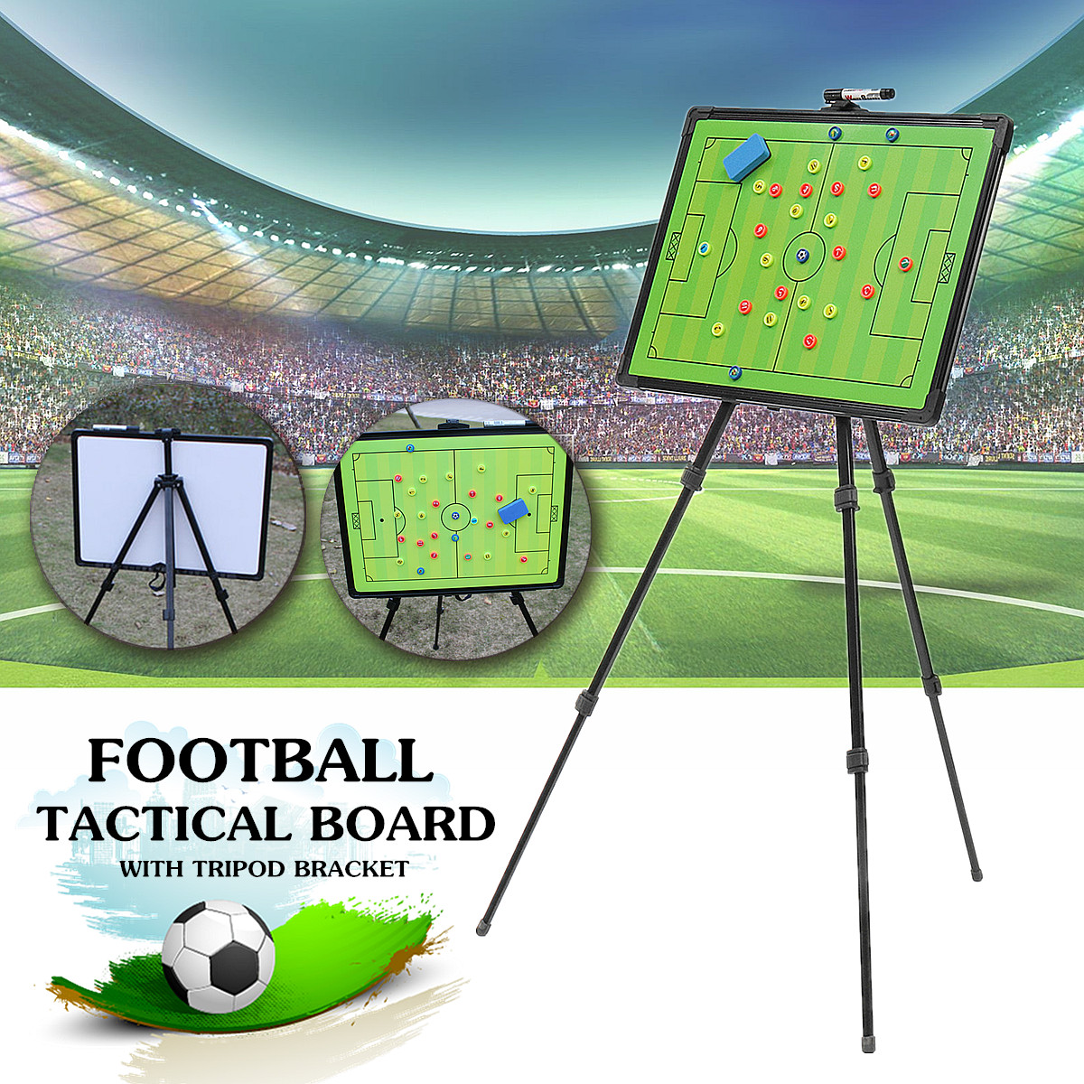 Professional Football Tactical Coaching Board Training Guidance Magnetic w/ Tripod Stainless Steel+PVC Board 60x45cm Portable greg bach coaching football for dummies