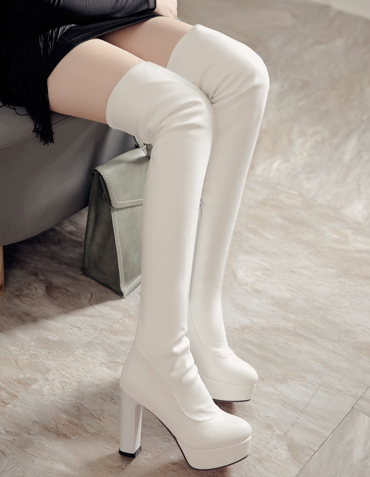 2016 Winter New High Heel Boots Leisure Elegant Heels Sexy Women Shoes Boots Round Toe Thin Heel Leather Boots 8093
