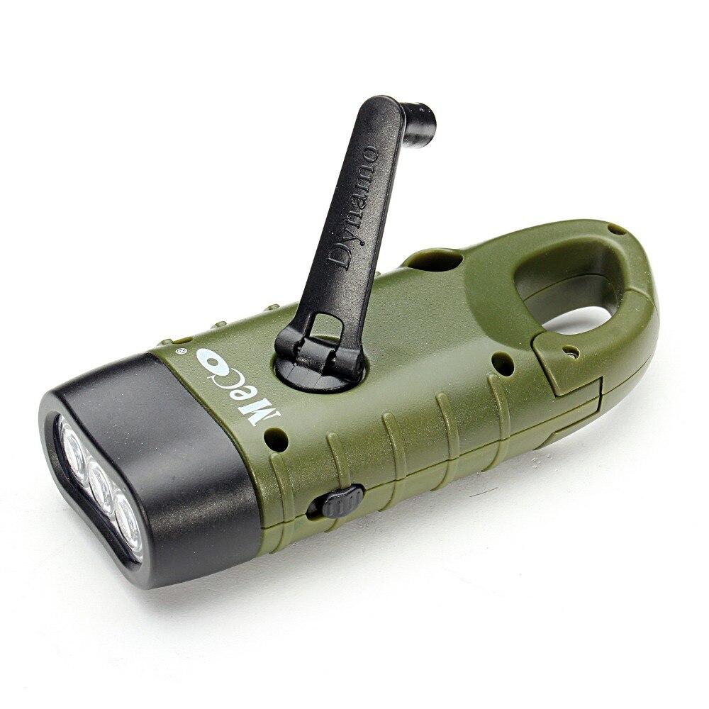 Mini de emergencia mano manivela Dinamo linterna Solar linterna recargable de LED de la lámpara de la luz de carga poderosa linterna para acampar al aire libre