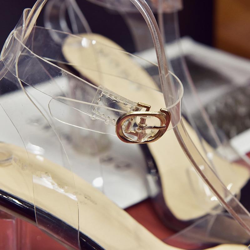HTB1DDf4byb.BuNjt jDq6zOzpXap MeiLiKeLin Clear heels Transparen Crystal Sandals Women Shoes Round Heel Womans Waterproof Beach Sandales lady high heels Summer
