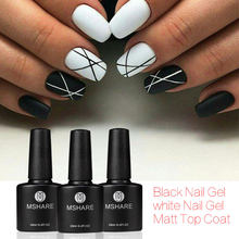 MSHARE mat couche de finition + blanc + noir vernis à ongles Gel vernis imbiber UV vernis à ongles Gel LED(China)