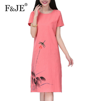 F JE 2017 Summer Fashion Arts Style Women Loose Casual Short Sleeve Long Dress Top Quality