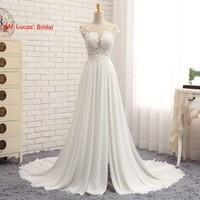 Long A Line Wedding Dresses O Neck Chiffon Covered Buttons Robe De Mariage Bridal Party Gowns Fairytale Princess Dress