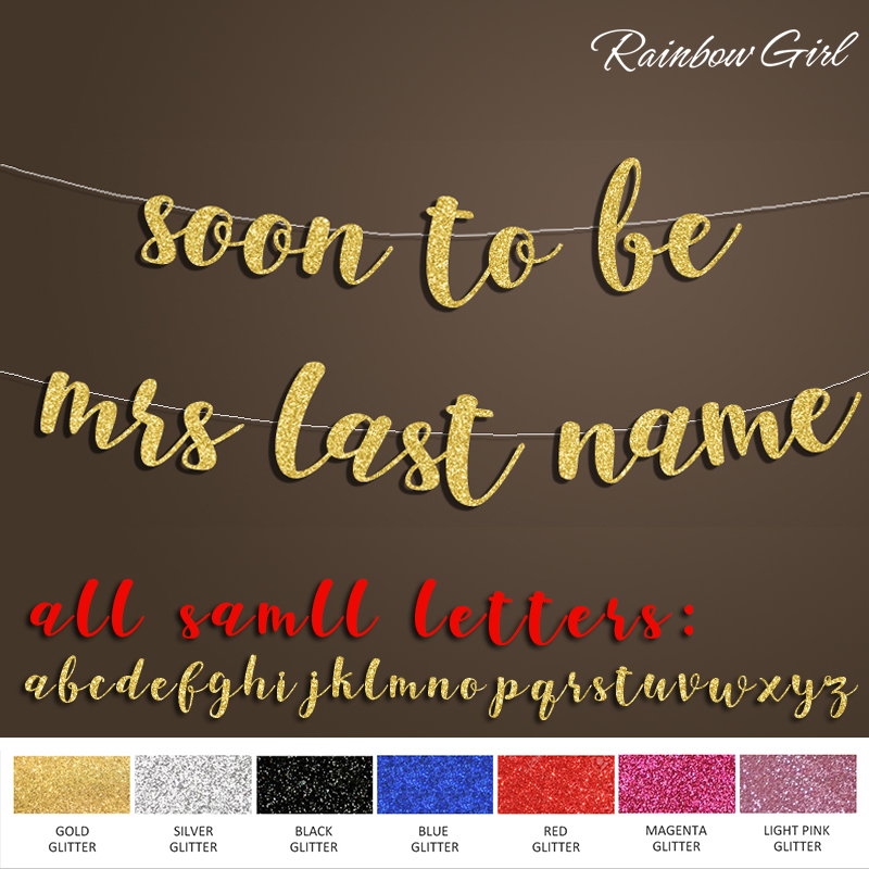 soon to be Mrs banner or Custom Last Name,Personalized Banner,Bridal Shower Decoration Sign,Wedding Party Decorations Supplies