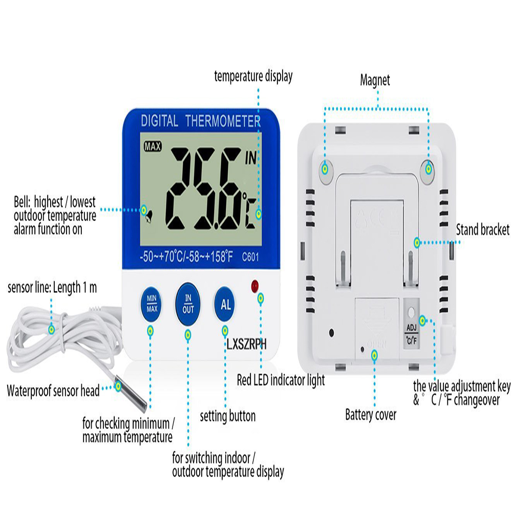 Lcd Electronic Thermometer Circuit Ncfaqua Display Digital Alarm With Led Indicator For Aquarium Fish Tank Insect Reptile Terrarium Refrigerator In Temperature Control