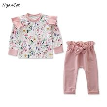 Toddler'S Baby Girl Clothes Suit 2PCS Infant Baby Girl Floral Cotton Casual Suit Long Sleeve Pull Over Pants Newborn Clothes(China)