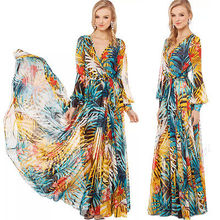 Heiße Frauen Sommer Gestreiften Boho Abendgesellschaft Lange Maxi Strandkleid Chiffon Kleider