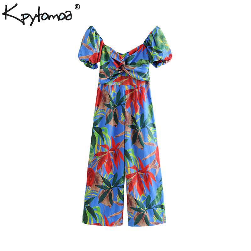 Vintage Stylish Floral Print   Jumpsuits   Women 2019 Fashion Short Sleeve Back Zipper Ladies Rompers Casual Playsuits Femme