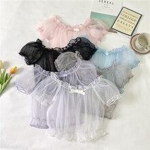 6 цветов, милая летняя шифоновая короткая рубашка с коротким рукавом и светильник для девочек, Легкая блузка в стиле «лолита»