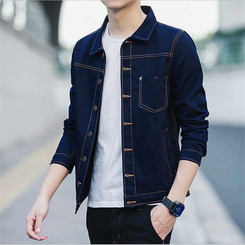 2018 男性のデニムジャケット高品質のファッションジーンズジャケットスリムフィットカジュアルストリートヴィンテージメンズジャン服プラスサイズ m-3XL