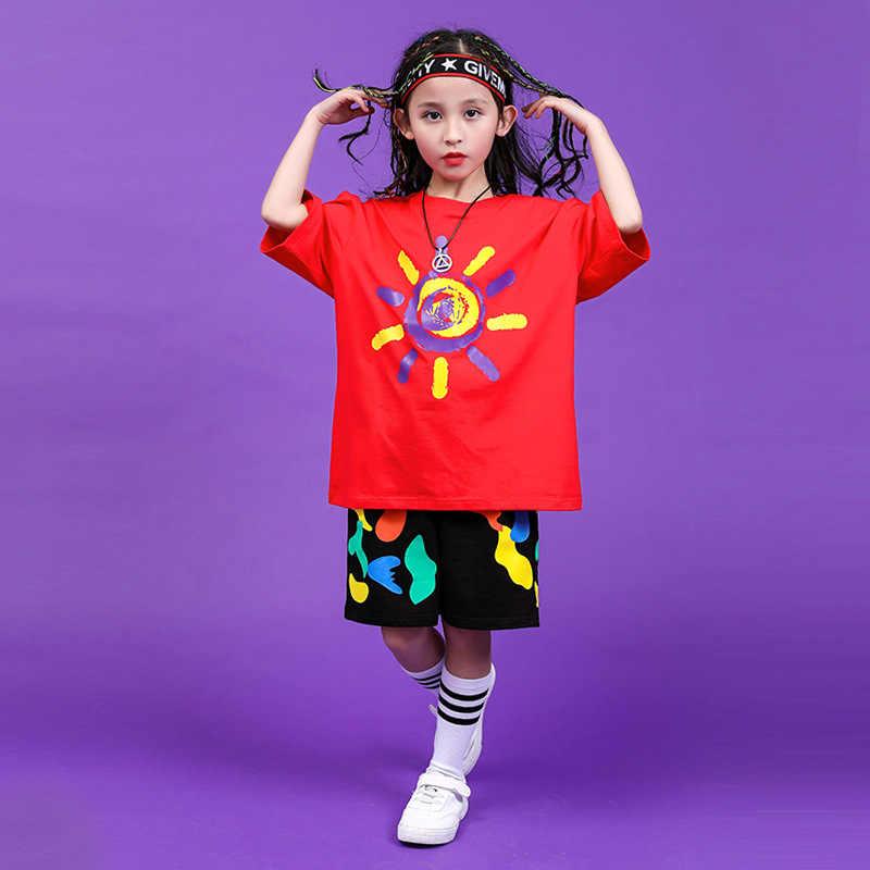 เด็ก street dance ชุดชายหล่อสั้นเครื่องแต่งกายหญิง jazz dance เสื้อผ้าเด็ก hip - hop