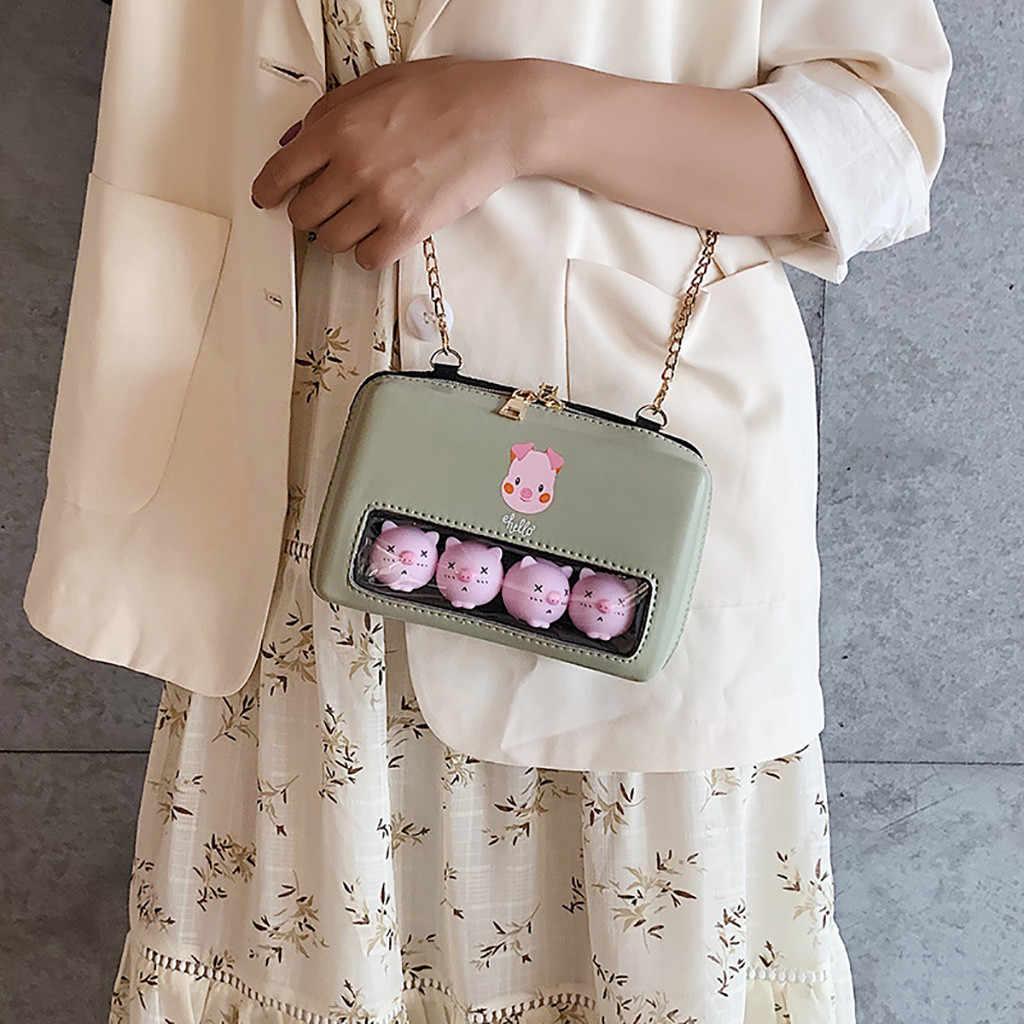 Delle donne di Piccolo Fresco Trasparente Carino Rosa Sacchetto di Spalla di Maiale Chic Casual Catena Selvaggio Messenger Bag Bolsa Feminina 2019 Moda Saco 50